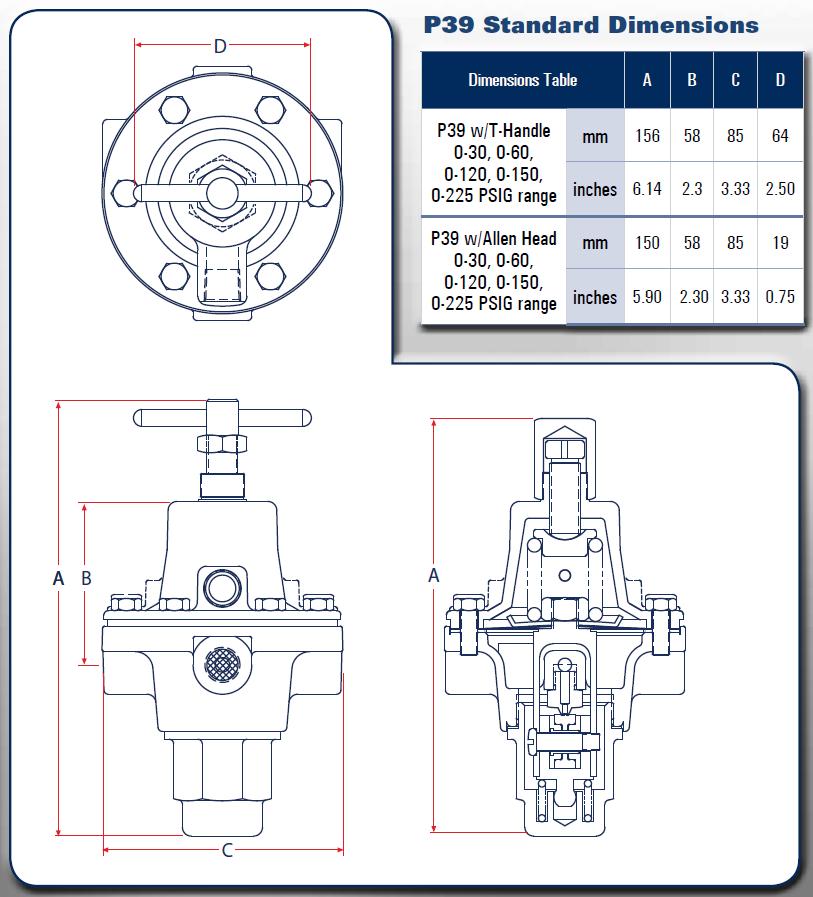 P39 Standard Dimensions