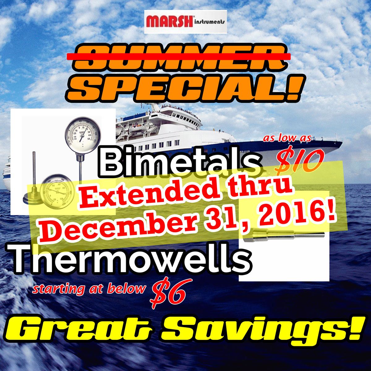 Marsh Instruments Special Pricing Extended on Bimetals and Thermowells